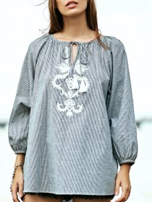 Striped Embroidery V Neck 3/4 Sleeve Blouse