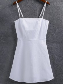Linen-Blend Fitted Cami Dress - White