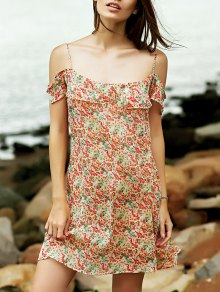 Tiny Floral Cami Ruffles Dress