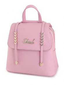 Letter Strap Solid Color Satchel - Pink