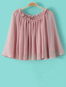 Buy Solid Color Scoop Collar Flare Sleeve Ruffled Blouse - PINK M