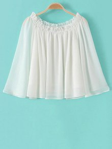 Buy Solid Color Scoop Collar Flare Sleeve Ruffled Blouse - WHITE S