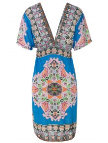 Plunging Neck Retro Print Dress - Blue 2xl