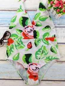 Flower Print Plunging Neck Backless One Piece Swimwear - White