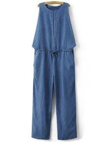 Drop Armhole Denim Jumpsuit - Blue