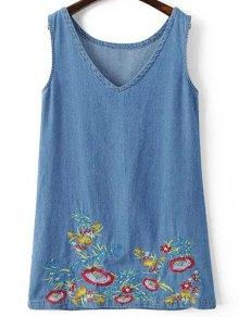 Sleeveless Embroidered Denim Dress