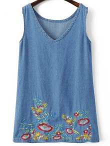 Sleeveless Embroidered Denim Dress