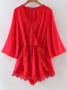 Lace Spliced V-Neck Solid Color Romper - Red