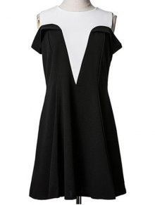 Spliced Cold Shoulder Faux Twinset Dress