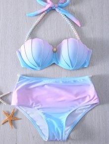 Pearl Halter Ombre Underwire Seashell Bikini - Blue And Pink Xl