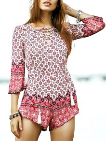 Lace-Up Ethnic Pattern Playsuit