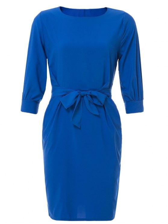 Chaleco de cuello de barco vestido con cinturón - Azul zafiro 2XL