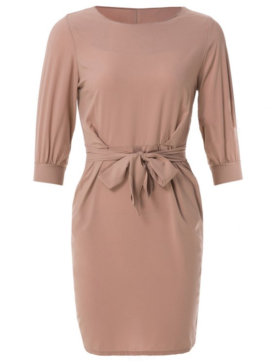 women's Boat Neck Sheath Dress With Belt - NUDE PINK XS