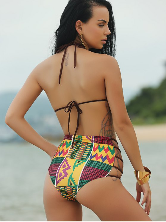 Halter African Print High Waist Bathing Suit - COLORMIX XL Mobile