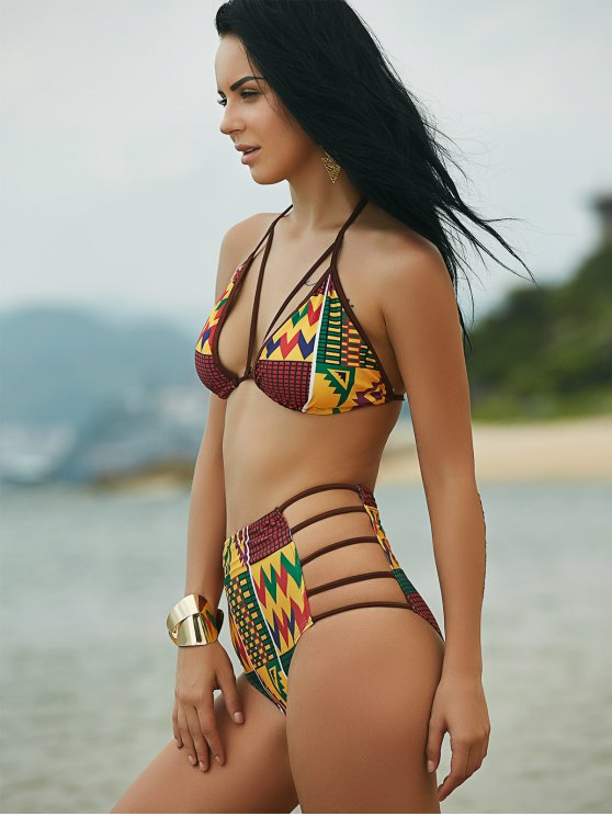 Halter African Print High Waist Bathing Suit - COLORMIX M Mobile