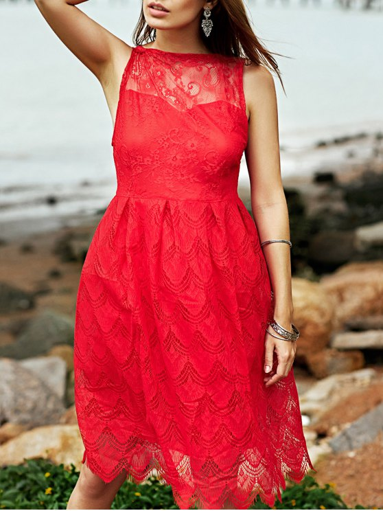 affordable Full Lace Round Neck Sleeveless Flare Dress - RED S