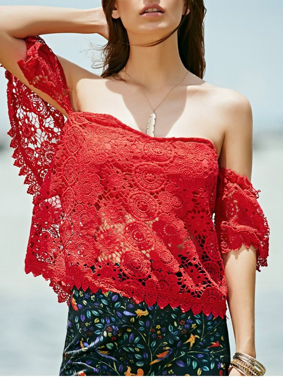 women Off Shoulder Red Lace Top - RED L