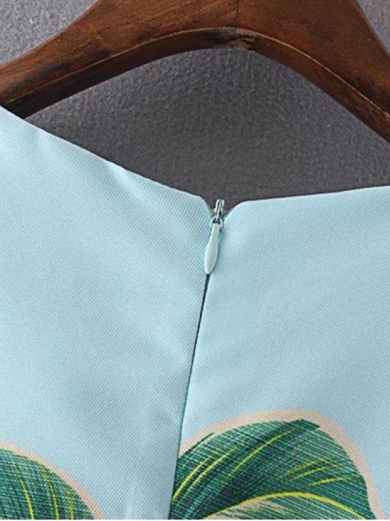 Sleeveless Floral Print Round Neck Dress - LIGHT BLUE L Mobile