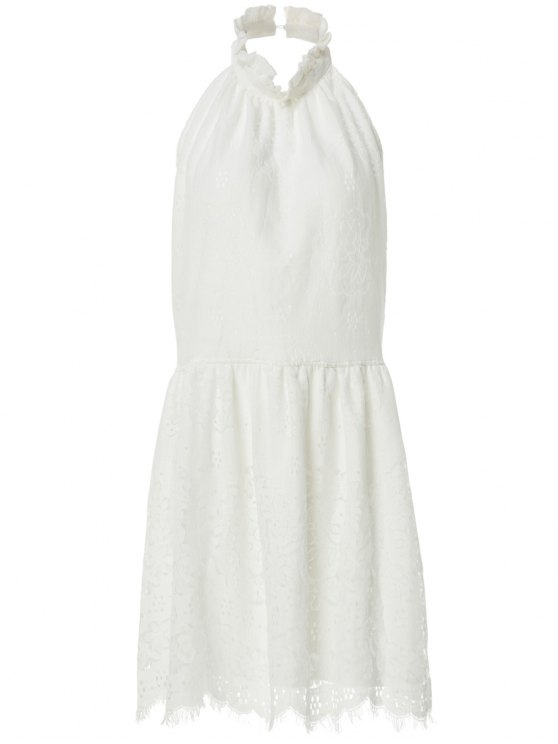 Halter Neck Solid Color Backless Lace Dress - WHITE S Mobile