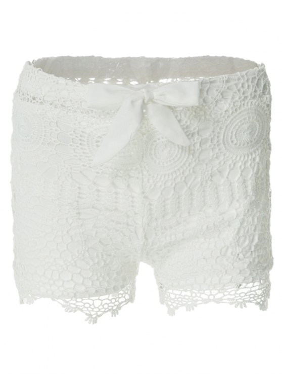 ladies Solid Color Lace Tie-Up Shorts - WHITE S