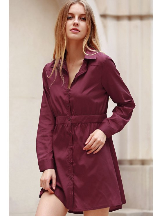 Wine Red Turn Down Collar Long Sleeve Dress - WINE RED M Mobile
