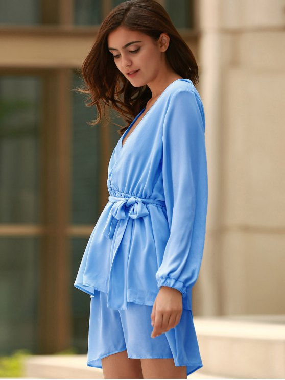 Plunging Neck Flirty Ruffle Chiffon Dress - LIGHT BLUE M Mobile