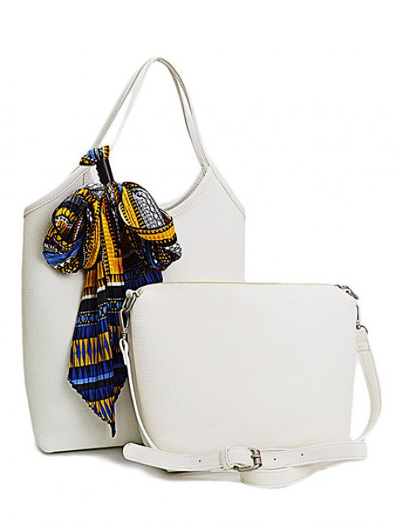 buy Scarf PU Leather Solid Colour Tote Bag - WHITE