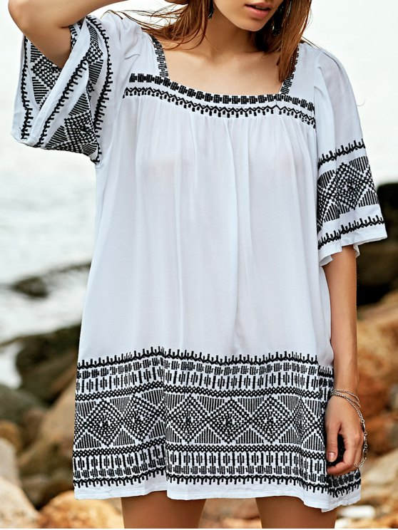 women Embroidered Babydoll Tunic Dress - WHITE S