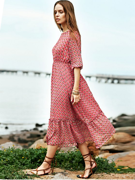 High Waisted Round Neck Print Dress - RED L Mobile