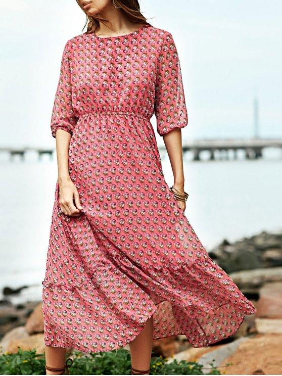 Alto vestido de la impresión de talle cuello redondo - Rojo L