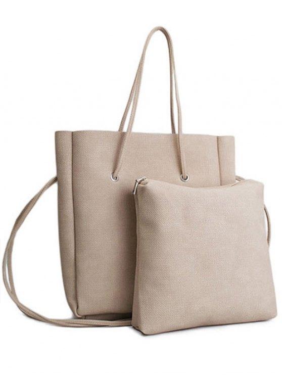 trendy Solid Color PU Leather Shoulder Bag - APRICOT