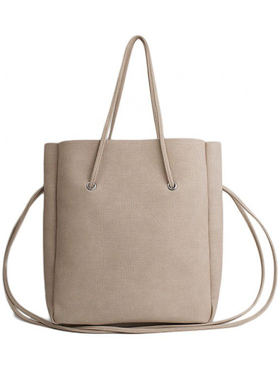 Solid Color PU Leather Shoulder Bag - APRICOT  Mobile