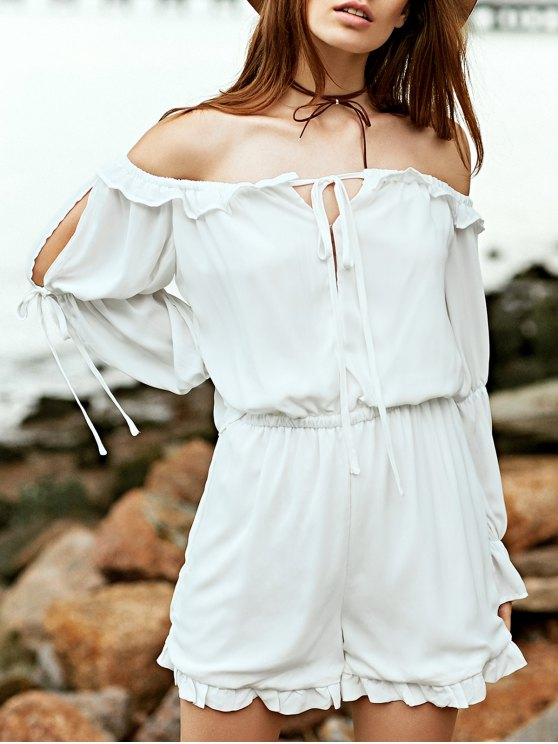 Off The Shoulder blanc à manches longues en mousseline de soie Romper - Blanc L