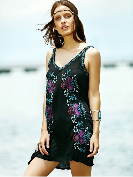 Embroidered Strap Dress - BLACK M Mobile