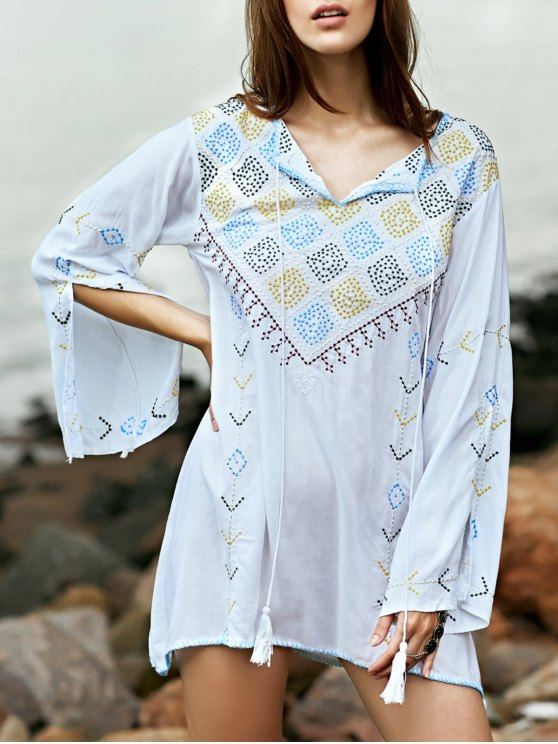 sale Embroidered Check Blouse - WHITE M
