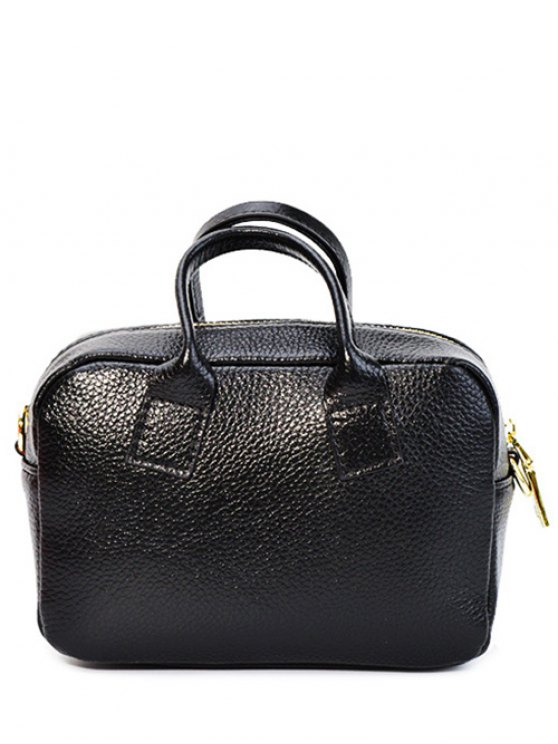 womens Zip Solid Colour PU Leather Tote Bag - BLACK