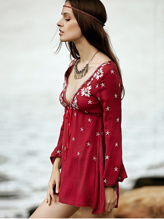 Low Cut Embroidered Tunic Dress - WINE RED M Mobile