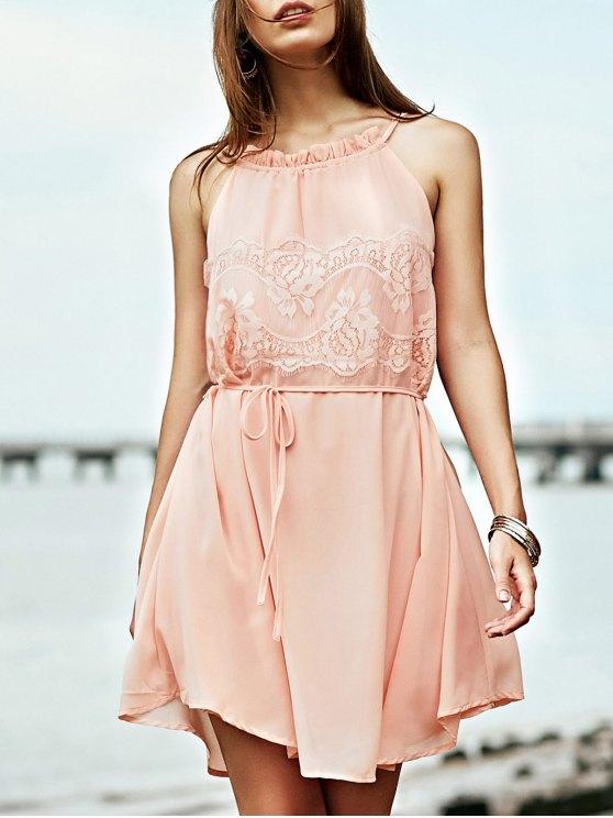 online Lace Splice Round Collar Sleeveless Dress - LIGHT PINK L