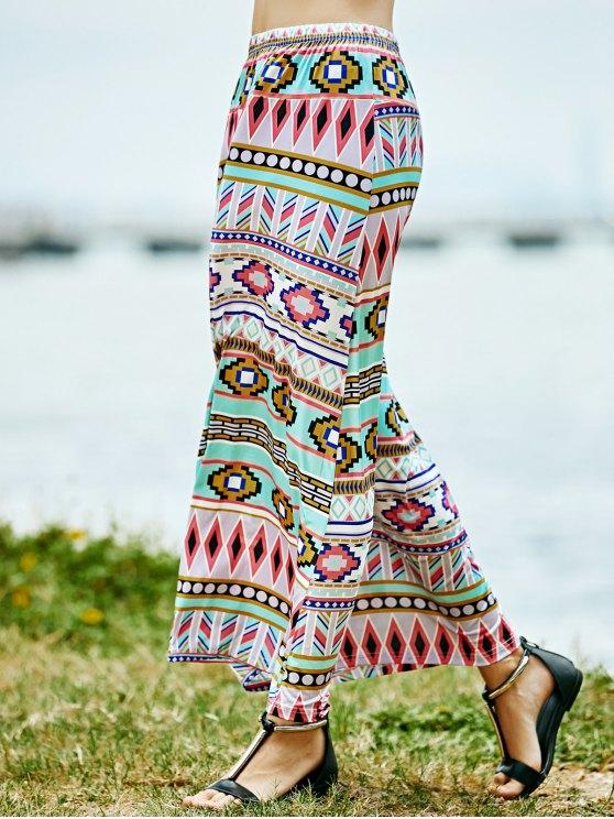 hot Geometric Print High Waist A-Line Skirt - ROSE L