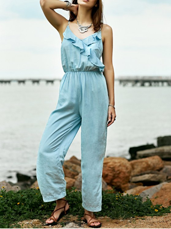 Ruffles Cami Light Blue Denim Jumpsuit - Bleu clair M