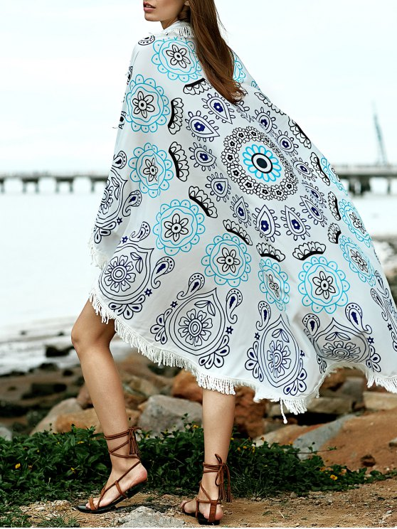 Printed Convertible Round Shape Cape Cover Up - BLUE ONE SIZE(FIT SIZE XS TO M) Mobile
