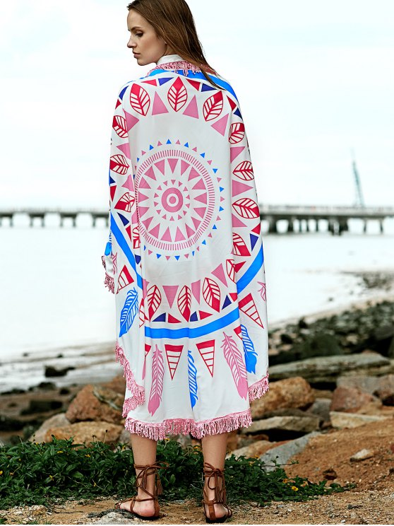 Feather Print Convertible Round Shape Cape Cover Up - COLORMIX ONE SIZE(FIT SIZE XS TO M) Mobile