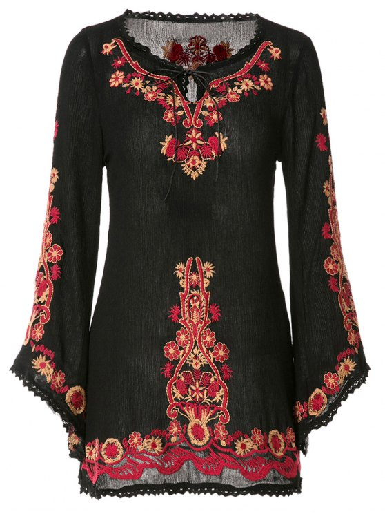 ladies Floral Embroidery Lace Splicing Long Sleeve Dress - BLACK ONE SIZE(FIT SIZE XS TO M)