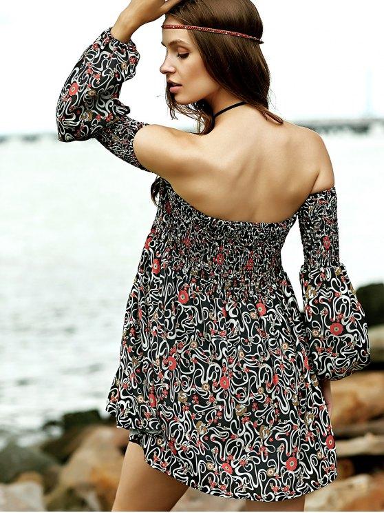 Smocked Floral Print Off The Shoulder Dress - BROWN M Mobile