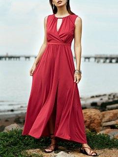 Red Keyhole Neckline Sleeveless Maxi Dress - Cerise M