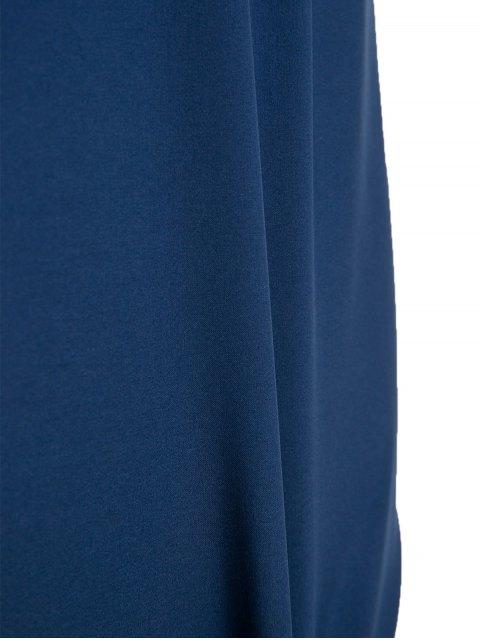 buy Boat Neck Sheath Dress With Belt - PURPLISH BLUE 2XL Mobile
