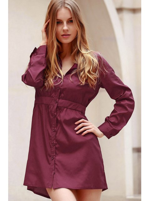 outfit Wine Red Turn Down Collar Long Sleeve Dress - WINE RED L Mobile