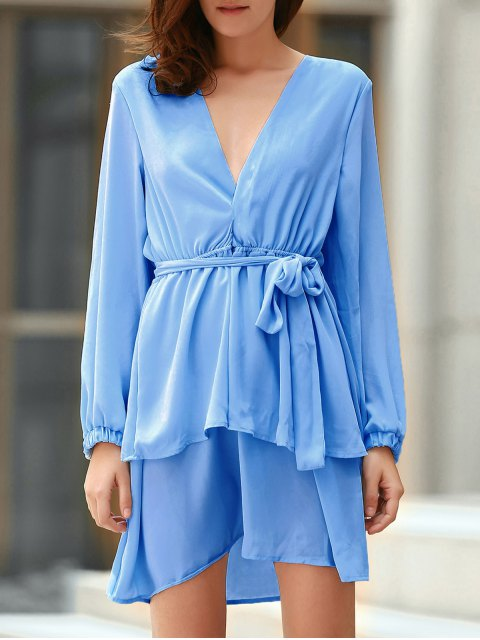 womens Plunging Neck Flirty Ruffle Chiffon Dress - LIGHT BLUE 2XL Mobile