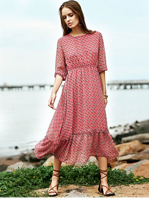 sale High Waisted Round Neck Print Dress - RED L Mobile