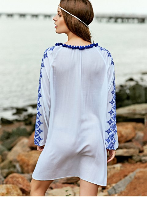 shops Embroidery Round Neck Long Sleeve Dress - WHITE S Mobile